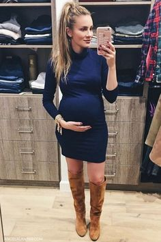 Blue non-maternity dress for fall season. How to Wear over the knee boots for fall season. Angela Lanter, Hello Gorgeous #Overtheknee #boots #AngelaLanter #fallstyle #falloutfit #falltrends #fashionista #popular