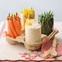 Creamy Herb Dip (even healthier with low-fat sour cream and mayo) and lots of veggies -- fun presentation idea for Brownies earning their Snacks badge.