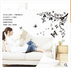 butterfly flowers wall sticker home decoration diy adhesives art mural posters wallpaper AY7005