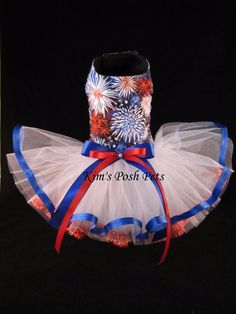 Fire Works Dog Tutu Dress XS _4th of July _ Facebook - Kim's Posh Pets