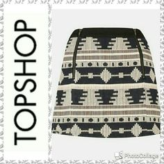 Topshop Black & Cream Aztec Print Mini Skirt In excellent condition. Like new Top Shop align mini skirt. Black & cream Aztec tapestry print , great detail of 2 exposed zippers in front, black stretch waistband, completely lined, stretch in fabric. This is a fantastic cool, boho skirt. It will quickly become your favorite skirt! Topshop Skirts Mini