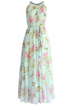 Paint your closet fabulous with this enchanting floral frock! Flaunting candy pink flowers and sandy beige butterflies atop a pale water blue backdrop, this masterpiece of chiffon maxi will have you looking and feeling like the muse of Monet himself!   - Deep-v neckline with strings to reverse - Lined - 100% Polyester - Machine wash gently / Hand wash  Size(cm) Length  Bust  Waist S                 120     Free    Free M               125     Free    Free L                 130     Free  …