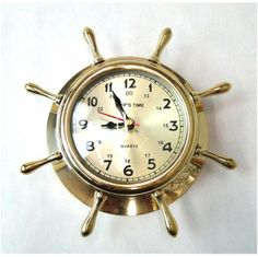 Solid Brass Old Fashioned Ships Wheel Face Clock Battery Operated Nautical Decor