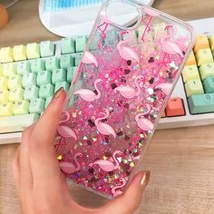PINK GLITTER FLAMINGO - New Liquid Skinny Dip Phone Case Cover For iPhone 6/6s 7