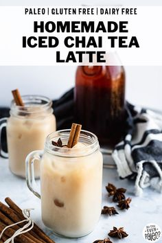 Homemade Dairy Free Iced Chai Tea Recipe - Make your own iced tea latte at home! With a blend of chai spices, this iced tea recipe is simple, quick, and costs a fraction of the coffee shop price. Plus, it's a paleo recipe and dairy free recipe! Iced Tea Recipes, Coffee Recipes, Brunch Recipes, Drink Recipes, Agave Bar, Iced Chai Tea Latte, Iced Coffee, Homemade Iced Tea, Chai Tea Recipe