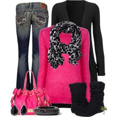 It's time to rock 'n' roll in this sassy, hot pink outfit. Gotta love that black leopard scarf with the bright color.