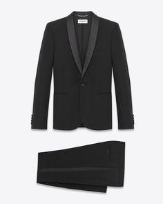 Saint Laurent Iconic Le Smoking Suit In Black Textured Virgin Wool Mens Tuxedo Suits, Suits 5, Tuxedo For Men, Mens Dinner Suits, Mens Plaid Pants, Le Smoking, Black Suits, Saint Laurent, Saints