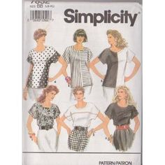 Misses Blouses Simplicity Sewing Pattern 7832 (Size BB: LG-XL 18-24)