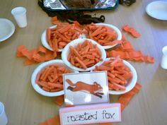 Idea for roasted fox at Gruffalo party - could also use carrot stick crisps I suppose? Gruffalo Activities, Gruffalo Party, The Gruffalo, Gruffalo Eyfs, 5th Birthday Boys, 3rd Birthday Parties, Birthday Ideas, Gruffalo's Child, Game Ideas