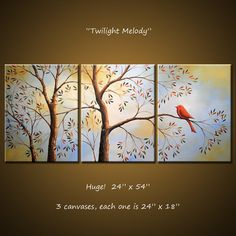 Art Painting 54 Triptych Original Large Wall by AmyGiacomelli