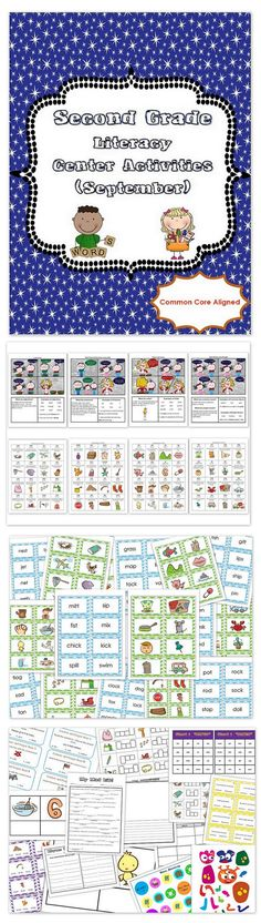 Second Grade Literacy Centers Activity Pack (September) {Common Core Aligned} is filled with tons of fun, engaging, and educational literacy center activities, worksheets, quizzes, flashcards, and more. We like to use the literacy center activities as small group activities or parts of our literacy centers, with one grammar and one phonics component highlighted each week, making this pack last for a month.