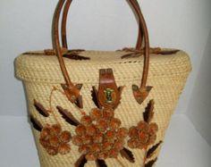 Vintage Straw Purse Kitsch 1960's Raffia Flowers Leather