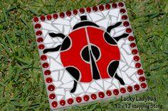 12 x 12 Lucky Ladybug stepping stone stained glass mosaic art mosaic ...