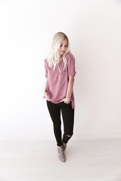 """• Pink Silk T Shirt top with pocket • Available in sizes S, M, L.Aspyn is 5' 4"""" and wearing a size small • 100% POLYESTER"""