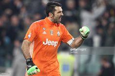 Juventus goalkeeper Gianluigi Buffon (1) celebrates during the Serie A football match n.23 JUVENTUS - INTER on at the Juventus Stadium in Turin, Italy.