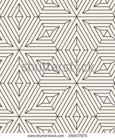 Vector seamless pattern. Modern stylish texture. Repeating geometric tiles from linear  hexagonal grid