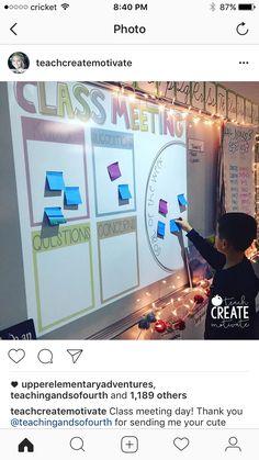 class meeting every Friday kudos, concerns, questions, sug 5th Grade Classroom, Future Classroom, School Classroom, Classroom Activities, Classroom Ideas, Classroom Meeting, Building Classroom Community, Classroom Procedures, Classroom Behavior