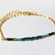 Bracelet gourmette bleu irisé