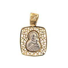 Μενταγιόν Παναγία δίχρωμο χρυσό Κ14 Flask, Jewels, Jewelery, Flasks, Gems, Jewerly, Jewelry, Jewel
