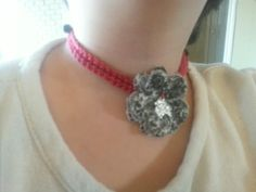 Crochet choker with beads and a skull flower