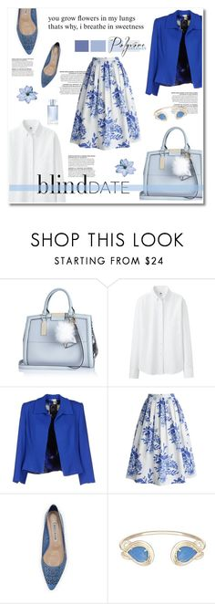 """""""what to wear : blind date"""" by limass ❤ liked on Polyvore featuring River Island, Uniqlo, Ivan Montesi, Chicwish, Manolo Blahnik, Kendra Scott, Orlane and blinddate"""
