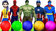 Learn colors with Spiderman Hulk driving cars colors balls finger family...