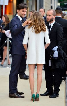 Olivia Palermo and Johannes Huebl are seen at the Louis Vuitton Store... News Photo 488462801