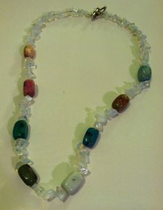 Calming Moonstone and Agate Bead Necklace by TripIntoLight on Etsy, $20.00