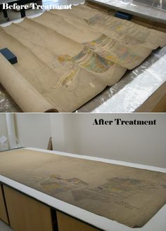 Before & After: humidification & flattening. Map is from the CONSOL Energy Collection at the University of Pittsburgh Archives. http://www.library.pitt.edu/libraries/archives/archives.html