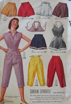 1954 Women's casual, sporty clothes : coverall playsuit, shorts, halter tops and capri pants in summer colors