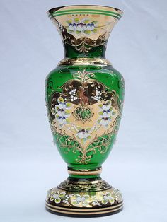 "8"" Mirea Bohemian raised enamel & gold green glass vase"