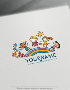 Hand-Drawn Rainbow Children Logo – Group Of Kids Logo Template