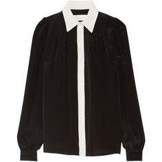 Victoria, Victoria Beckham Two-tone silk crepe de chine shirt ($450) ❤ liked on Polyvore featuring tops, blouses, shirts, two tone shirts, shirts & tops, crepe de chine blouse, silk top and black silk top