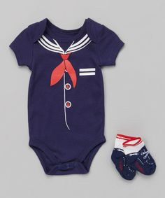 Look what I found on #zulily! Vitamins Baby Navy Sailor Bodysuit & Socks - Infant by Vitamins Baby #zulilyfinds