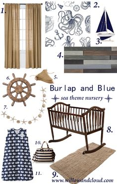 Burlap and Blue Ocean Themed Nursery