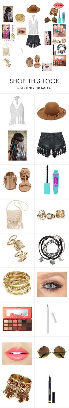 """Coachella fashion"" by iraice01 ❤ liked on Polyvore featuring RHYTHM, Sans Souci, Qupid, Billabong, Topshop, ABS by Allen Schwartz, Too Faced Cosmetics, Fiebiger, Yves Saint Laurent and Casetify"