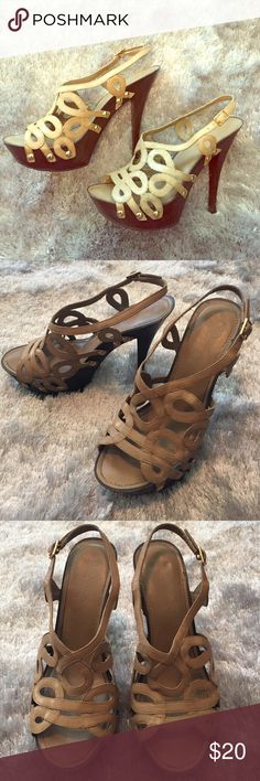 """Jessica Simpson """"Genaviv"""" platform sandal - size 7 Jessica Simpson """"Geneviv"""" platform sling back sandals. Size 7. Pre-owned. Nude leather upper with brown wood look platform heal and gold grommet detail. Jessica Simpson Shoes"""