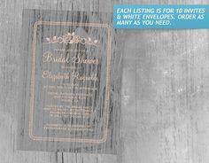 Coral Vintage Barn Wood Bridal Shower Invitations