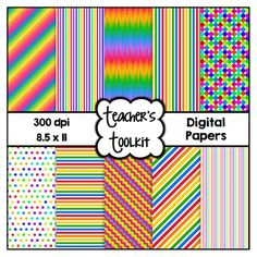 $ #Rainbow Delight #Digital #Papers {8.5 x 11} #Clip #Art CU OK