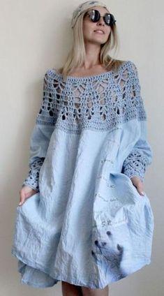 crochet&fabrics light denim dress