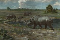 This is another painting that is supposed to represent the Brontotherium (Megacerops). I wonder what it would be like to live during these times. Would the animals look anything like we think?