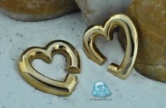 gold-plated heart jewelry for stretched piercings Heart Jewelry, Piercings, Plating, Gold, Style, Peircings, Stylus, Multiple Ear Piercings, Piercing