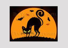 Halloween Cat Pattern Halloween Cross Stitch by NewYorkNeedleworks, $8.50