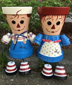 Raggedy Anne or  Andy Planter Pot Person Pot People Garden Yard Art
