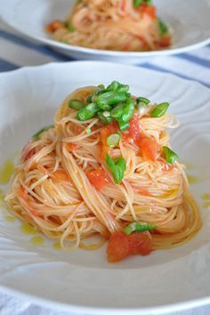 Japanese Pasta Cooled Capellini with Fruits Tomatoトマトの冷製パスタ Asian Recipes, Gourmet Recipes, Cooking Recipes, Healthy Recipes, Exotic Food, Daily Meals, Macaron, How To Cook Pasta, No Cook Meals