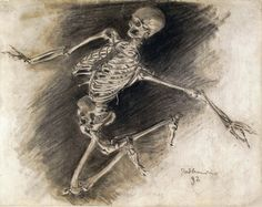 Władysław Podkowiński, Study of a Skeleton - Charcoal & gouache) Vanitas, Skull And Bones, Memento Mori, Macabre, Gouache, Dark Art, Mystic, Digital Art, Lion Sculpture