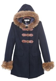 Navy Fur Trim Hooded and Cuffs Duffle Woolen Coat - Sheinside.com