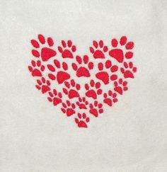 Paw Prints Heart Machine Embroidery Design Pattern Single Color for a 4X4 Hoop PES, dst, exp, hus, jef, pcs, vip Formats by JaLeiEmporium on Etsy https://www.etsy.com/listing/222338983/paw-prints-heart-machine-embroidery