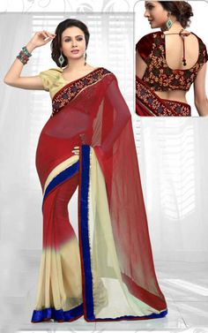MAROON & CREAM CHIFFON LATEST SAREE - RIS 1712B