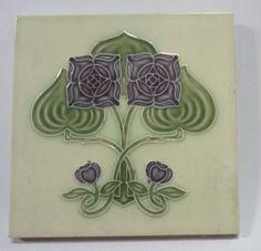 Vintage Art Nouveau Majolica Tile FLOWER Japan 44322 #Japan